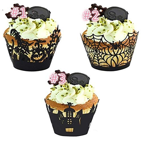 Big Big Shot 12pcs Halloween Decorations Cupcake Wrappers Wraps Case Hollow Cut Cake Decorating Supplies Halloween Party Accessories (1)