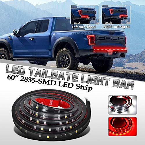 HOCOLO 60' LED Tailgate Light Bar Truck Tail Light LED Strip Red/White Reverse Brake Turn Signal Light Universal for Jeep GMC Ford Dodge Ram Pickup Trucks RV SUV
