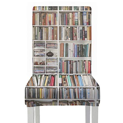 Cubrir Sillas de mesa de comedor Libros en biblioteca Biblioteca Sillas de comedor Cubierta de poliéster elástico Extraíble lavable Cubierta de silla de comedor personalizada para el hogar Cocina Fie