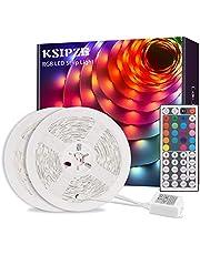 Ksipze Tiras LED 10m, Luces LED RGB con Control Remoto y Fuente de Alimentación de 12V, 20 Colores y 8 Modos de Escena para la Habitación, Techo, Cocina, 2 Rollos de 5m