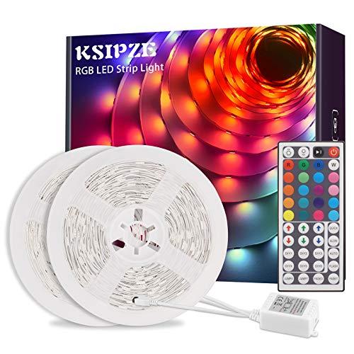 Ksipze LED Strip 10m RGB LED Lichterkette Streifen Lichtband mit Fernbedienung,Farbwechsel Hell 5050 LED Band Leiste Lichterketten Klebeband Selbstklebende für Zuhause, Schrank, Schlafzimmer(2 * 5M)