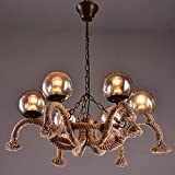 LLLKKK Lámpara de araña de estilo industrial con cuerda de cáñamo, E27, retro, creativa, para restaurantes, decoración, lámpara de techo vintage, cuerda de cáñamo, 6 luces