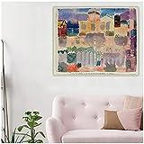 Shmjql Paul Klee 《Jardín En St. Germain, El Barrio Europeo Cerca De Túnez》 Póster Abstracto Lienzo Pintura Al Óleo Imagen Decoración De La Pared Decoración del Hogar-60X80Cmx1 Sin Marco