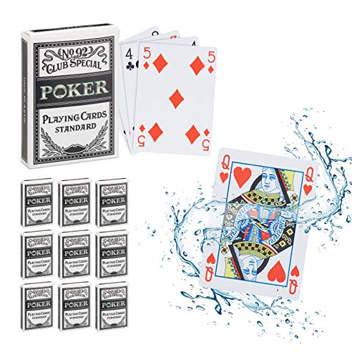 Relaxdays 10 x Pokerkarten Plastik im Set, wasserfestes Kartenspiel, reiß- & knickfest, 540 Karten, Texas Hold'em, Profi Pokerset