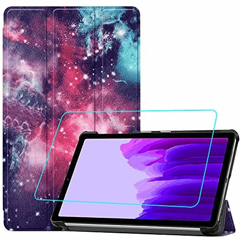 Brifu - Funda de piel sintética para Samsung Galaxy A7 Lite (SM-T220/SM-T225) (8,7 pulgadas) con función de planchado, calle de leche + 1 protector de pantalla de cristal templado