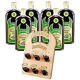 6 Flaschen Ossenkämper Kräuter 0,7 l + 6er Hornträger mit 6 Horngläsern 0,02 l