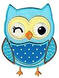PatchMommy Eule Blau Patch Aufnäher Applikation Bügelbild - zum Aufbügeln oder Aufnähen - für Kinder/Baby
