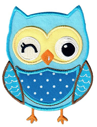 PatchMommy Owl Patch, Iron On/Sew On - Appliques for Kids Children (Blue)