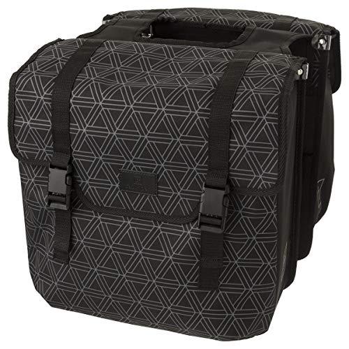 FAST RIDER Doppelpack fahrradtasche | abweisende Polyester | mit Reflexstreifen | Boden verstärkt | 36 Liter | Schwarz/Grau