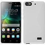 PhoneNatic Hülle kompatibel mit Huawei Honor 4c - weiß Silikon Hülle S-Style + 2 Schutzfolien