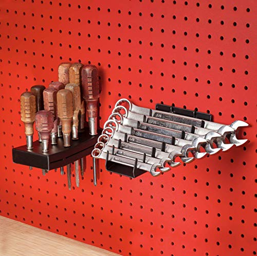 Full Metal Pegboard Screwdriver Holder & Wrench Holder Set | Heavy Duty Black Pegboard Accessories