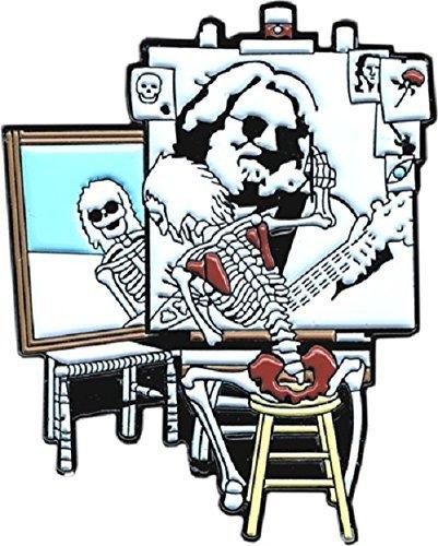 Jerry Garcia - Hippie Skeleton Portrait - Enamel Pin