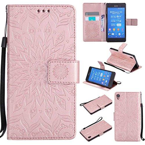 KKEIKO Hülle für Sony Xperia Z3, PU Leder Brieftasche Schutzhülle Klapphülle, Sun Blumen Design Stoßfest Handyhülle für Sony Xperia Z3 - Roségold