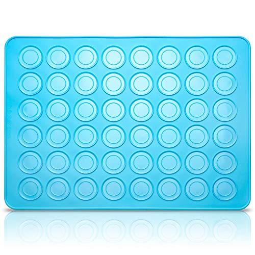 Belmalia Stampi in Silicone Macarons per Perfetti Macaron   Tappetino Silicone Antiaderente   Blu