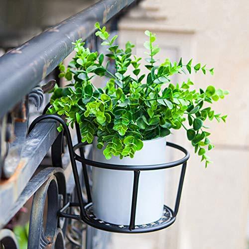 Holdlebe Blumentopfhalter Schwarz Metall Eisen Topfhalter Übertopfhalter Haken-Btopfhalter Pflanzenhalterung für Balkon, Hof, Terrasse