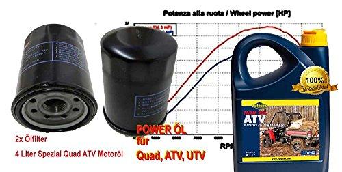 Power Synthetik 15W40 4liter Öl + 2X Ölfilter Ersatzteil für/kompatibel mit TGB Gunner 550 Wartungskit