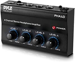 "4-Channel Portable Stereo Headphone Amplifier - Professional Multi Channel Mini Earphone Splitter Amp w/ 4 ¼ Balanced TRS Headphones Output Jack and 1/4"" TRS Audio Input For Sound Mixer - Pyle PHA40"