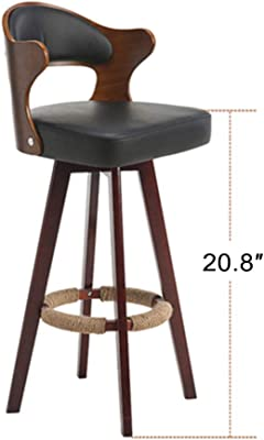 HIKTY Bar Stools Dining Chair Solid Wood 360° Swivel Back Bar Height Stool Leather upholstered
