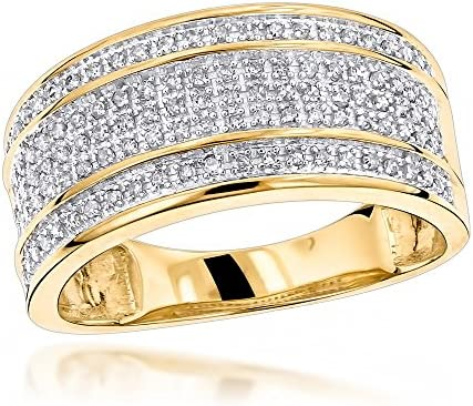 Luxurman Unique Wedding Bands 10K Five Row Natural 0 4 Ctw Diamond Ring For Men Yellow Gold product image