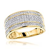 Luxurman Unique Wedding Bands 10K Five Row Natural 0.4 Ctw Diamond Ring For Men (Yellow Gold Size 8.5)