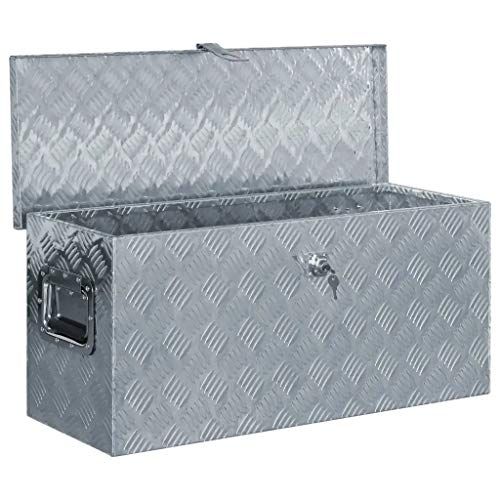 WENXIA Alubox | Allzweck-Transportkoffer | Deichselbox | Aufbewahrungsbox | mit Verriegelungssystem | Silber 80 × 30 × 35 cm - 4