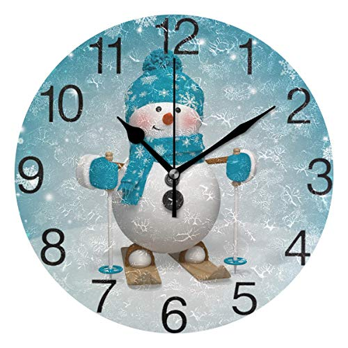 senya Christmas Cartoon Snowman Design Round Wall Clock, Silent Non Ticking Oil Painting Decorative for Home Office School Clock Art