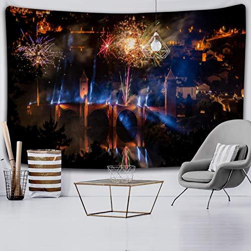 shuimanjinshan Christmas Fireworks Tapestry Ornament Wall Hanging Tapestry Carpet Home Deocr Yoga Pad Bedspread Beach Mat Gift 150X200Cm