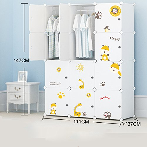 Lewie-Wardrobe Assemblée Plastique Armoire Simple Enfant Moderne Minimaliste Pliant bébé Cartoon résine Container Storage Closet