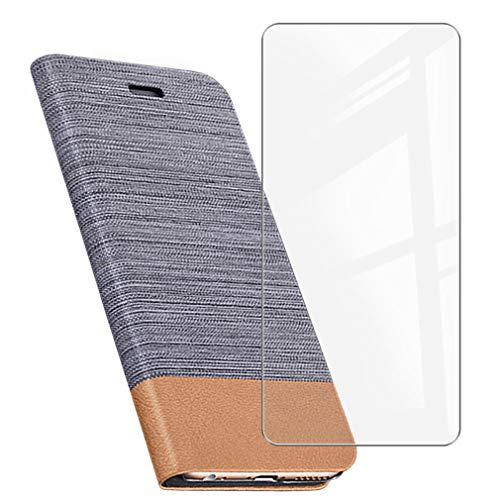 ZXLZKQ Funda para Oukitel F150 B2021 (5.86'), Silicona Case + Cristal Templado 9H Dureza Protector de Pantalla HD, Soporte Plegable PU Cuero Flip Cover Carcasa Ranuras Caso - Gray