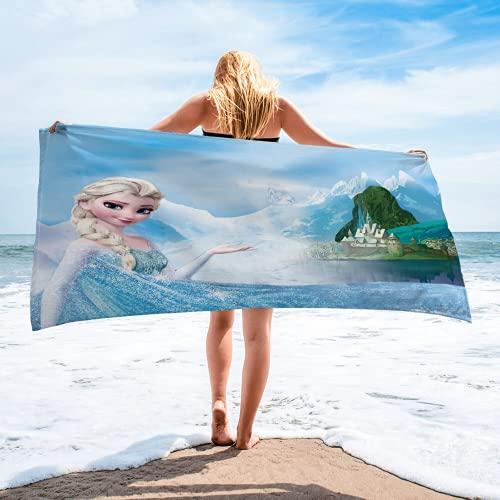 HANGYUN Frozen II Toalla de playa para niños, la princesa de hielo para niña, Anna Elsa Olaf Sven Kristoff toallas grandes supersuaves de secado rápido (B5,150 x 200 cm)
