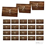 Andaz Press Table Tent Place Cards on Perforated Paper, Rustic Wood Print, Table Numbers 1 - 20 Collection, 1-Set, Placecards Table Settings for use with Charger Plates and Place Card Holders, Catering, Food, Dessert Table Tent Cards