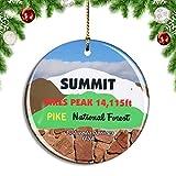 Weekino USA America Pikes Peak Colorado Springs Christmas Xmas Tree Ornament Decoration Hanging Pendant Decor City Travel Souvenir Collection Double Sided Porcelain 2.85 Inch