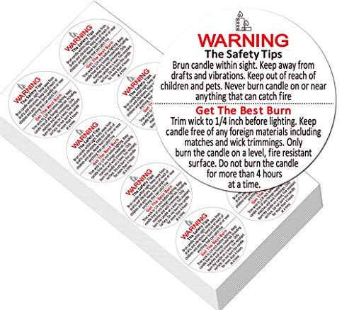 """2"""" Candle Warning Labels for Soy Waterproof Candle Jar Container Stickers - Candle Safety Sticker Labels 320 Decals Per Roll for Candle Jars,Tins and Votives"""
