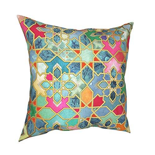 QUEMIN Cuadrado Decorativo Cojín Funda de Almohada Cojín Funda de Almohada Gilt & Glory Colorido Mosaico marroquí Decoración para el hogar para sofá Sofá Cama Silla 18x18 Pulgadas