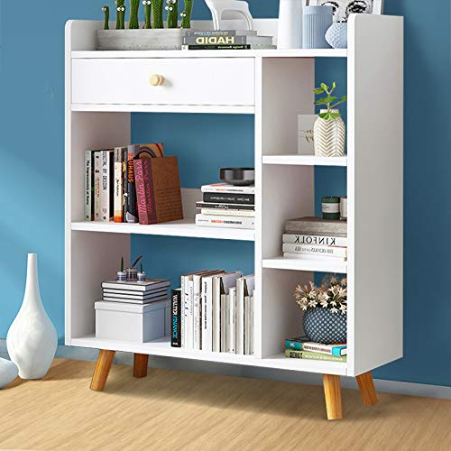 GORVELL Modern White Bookcase with 1 Drawer, Book Magazine Organizer Shelving Display Storage Unit, Home Office Living Room Furniture, L72 x W24 x H95cm