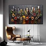 JinYiGlobal Grani Spezie Cucchiaio Peperoni Tela Pittura Cucina Decorazione Poster Stampe per Sala da Pranzo Immagini di Arte della Parete Decor 80x140 cm Senza Cornice