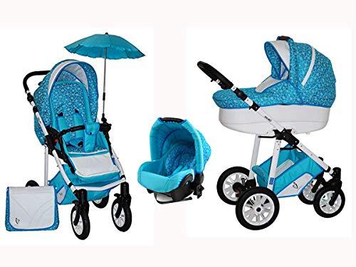 Skyline Kombi 3in1 Kinderwagen mit einem Aluminium Gestell, Babywanne, Sport Buggyaufsatz und Babyschale (ISOFIX) (Hellblaue Blumen)