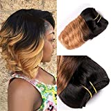 8 Inch Loose Wave Human Hair Ombre Bundles T1B/27 Ombre Hair Weave 100% Unprocessed Human Virgin Hair Weave Extension Two Tone Color T1B/27 Ombre Honey Blond(8Inch4pc,T27)