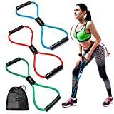 Resistance Bands Set of 3, Exercise Tube Band Chest Expander, Resistance Exercise Bands Yoga Gym Fitness Pulling Rope 8 Word Elastic for Exercise Muscle Training Tubing Pull Rope