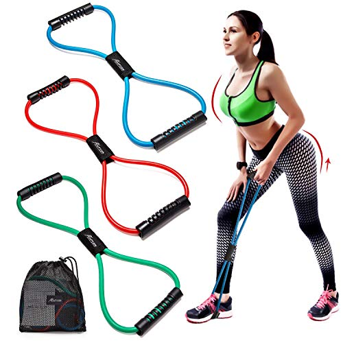 HPYGN Resistance Bands Set of 3, Exercise Tube Band Chest Expander, Resistance Exercise Bands Yoga Gym Fitness Pulling Rope 8 Word Elastic for Exercise Muscle Training Tubing Pull Rope