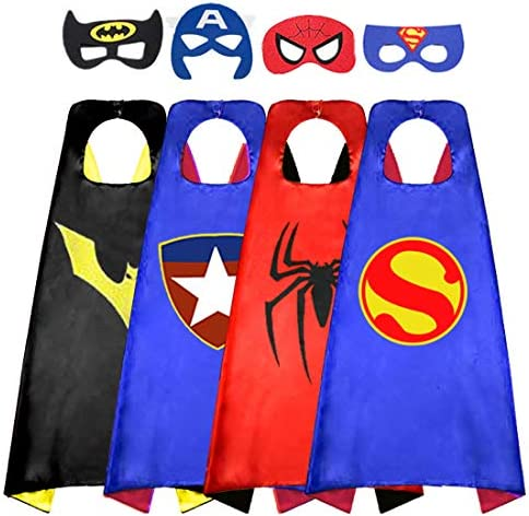Superhero Cape for Kids Double Sided Satin Capes and Felt Mask for Dress Up Costumes Best Gifts product image