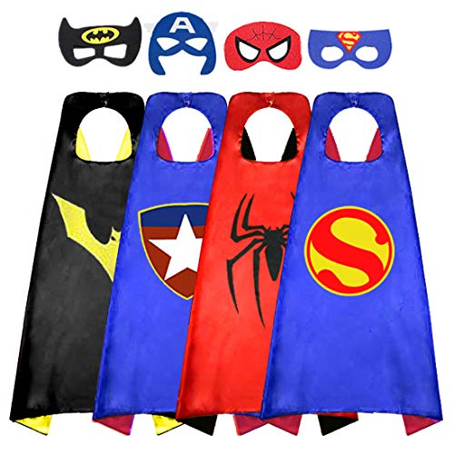 Capa de superhéroe para niños, capas de satén de doble cara y máscara de fieltro para disfraces, el mejor regalo para niños de 3 a 4 años, color azul