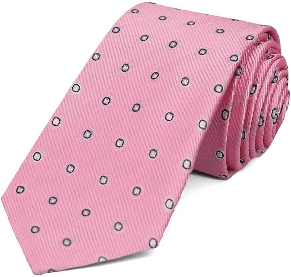 TieMart Pink Willoughby Dotted Slim Necktie