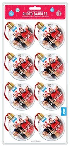Juego de 8 bolas de árbol de Navidad Shot2go para insertar fotoCada una tiene espacio para 2 fotos de 65 mm....