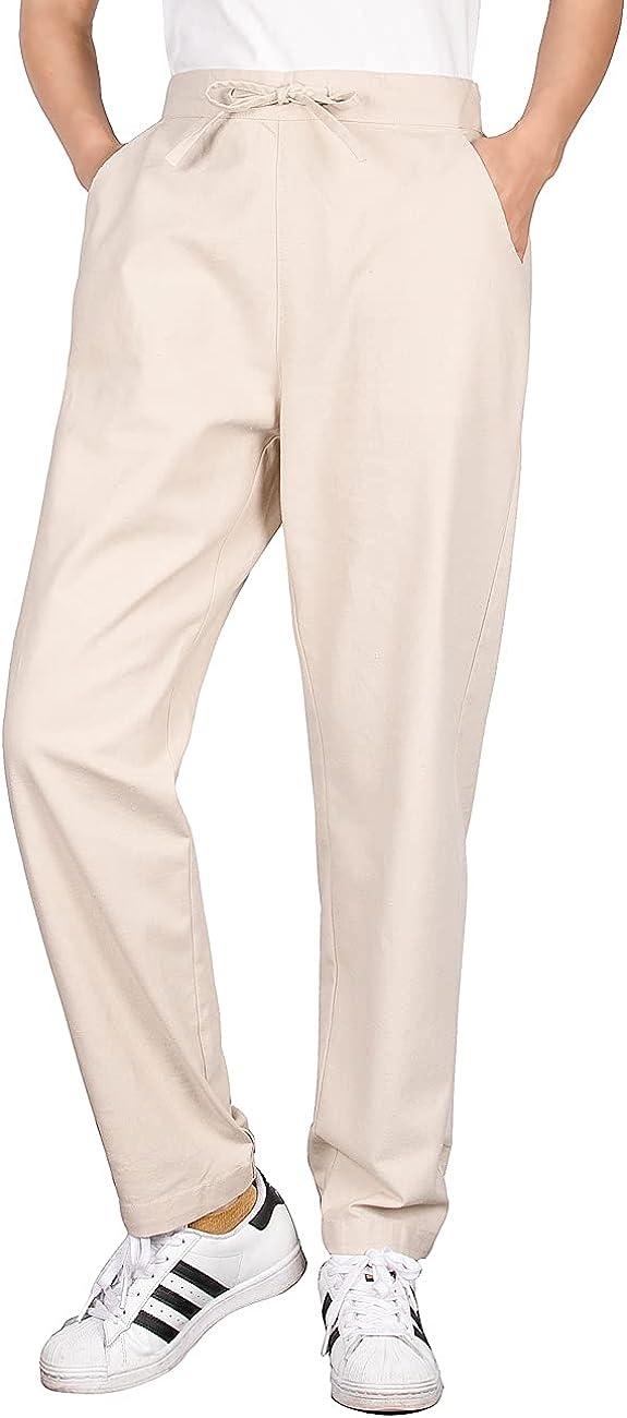 ThCreasa Womens Casual Drawstring Cotton Linen Pants Back Elastic Waist Loose Jogger Lounge Pants with Pockets