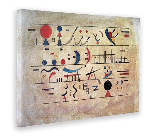 Giallobus - Quadro - Stampa su Tela Canvas Kandinsky - Quadro Astratto File di SEGNI - Quadri Moderni di Tela - Vari Formati - 70 x 100 CM
