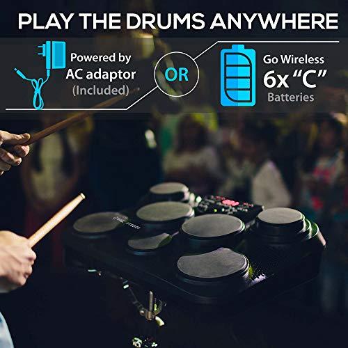 Pyle Portable Drums, Tabletop Drum Set, 7 Pad Digital Drum Kit, Touch...