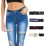Cintura Senza Fibbia - Cintura Regolabile Senza Fibbia per Donna e Uomo, Cintura Elastica Invisibile Cintura Elastica per Jeans, Pantaloni, Gonne (4 Pezzi)