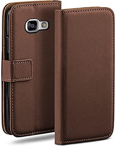moex Klapphülle kompatibel mit Samsung Galaxy A3 (2016) Hülle klappbar, Handyhülle mit Kartenfach, 360 Grad Flip Hülle, Vegan Leder Handytasche, Dunkelbraun