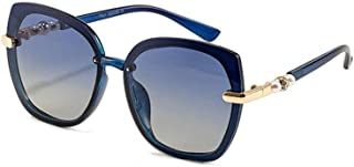 LUKEEXIN Ladies Fashion Square Driving Polarized Sunglasses with Pearls, UV Protection (Color : Blue)